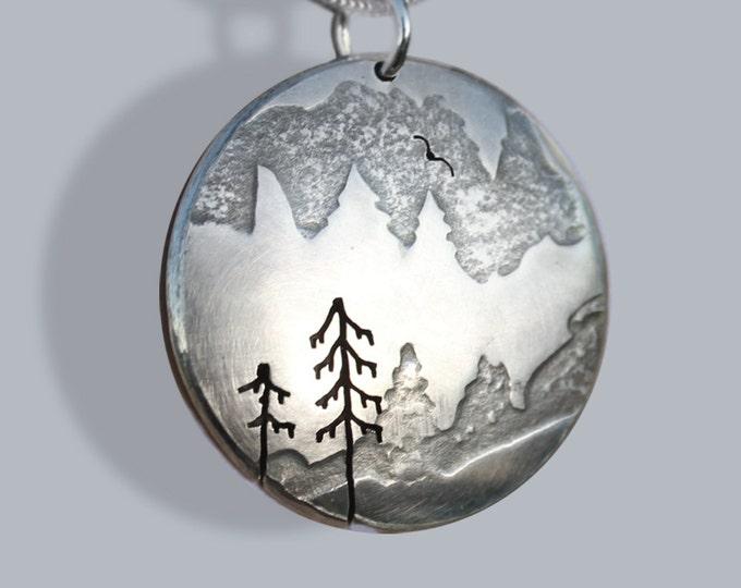 Snowy Fir Tree Pendant, Silver Pendant, Silver Jewellery, mountain jewellery.