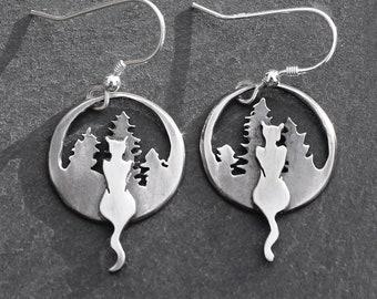 Cat Earrings, Silver Jewelry, Silver Earrings, Cat in Forest Earrings.