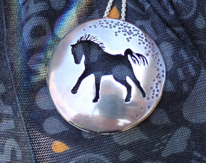 Horse Charmer, Silver Necklace, Silver Pendant, Handmade Silver Horse Jewellery, Horse Pendant.
