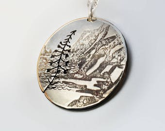Cave Mountain Pendant, Fireweed Silver Pendant, Silver Jewellery, mountain jewellery.