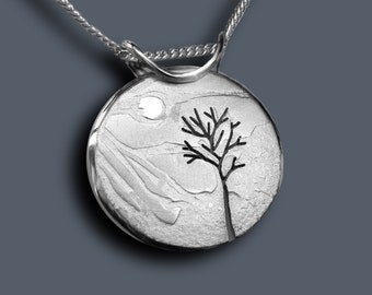 Mountain Tree Pendant, Silver Pendant, Silver Jewellery.