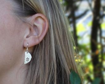 Leafy Earrings, Silver Earrings, Silver Jewellery, Asymmetric Earrings, Sterling Silver Earrings.