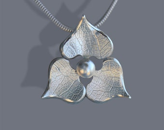 Flower Petal Silver Pendant, Sterling Silver Jewellery, Handmade Necklace.