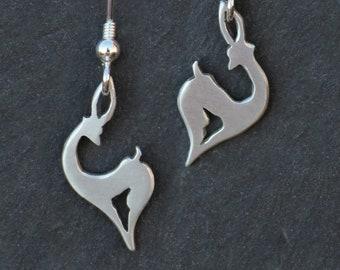Dancing Gazelle Earrings, Sterling Silver earrings, Handmade Silver Jewellery, Earrings.
