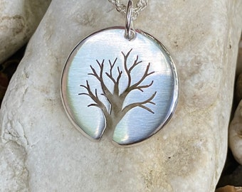 Graceful Tree Pendant. Sterling Silver Pendant, Silver Tree Necklace.