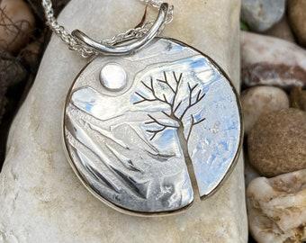 Mountain Tree Pendant, Silver Pendant, Silver Jewellery.