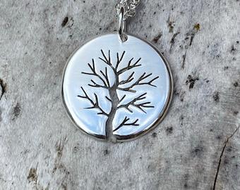 Misty Silver Tree, Tree Pendant, Handmade Necklace, Silver Jewellery.