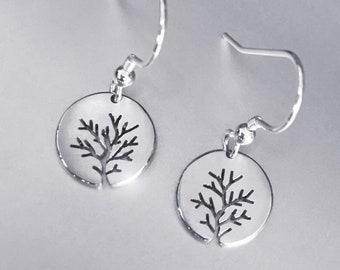 Bushy Tree Earrings, Sterling Silver earrings, Handmade Silver Jewellery, Earrings.