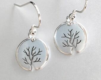 Tiny Bushy Tree Earrings, Sterling Silver earrings, Handmade Silver Jewellery, Earrings.
