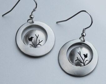 Bird on Branch Earrings, Sterling Silver earrings, Silver Jewellery, Bird Earrings.