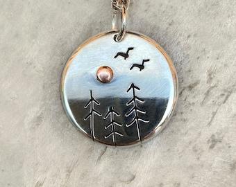 Birds in Flight, Fir Tree, Copper Sun, Silver Jewelry, Silver Jewellery, Silver Pendant, Bird Jewelry.
