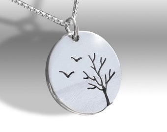Birds and Tree Pendant, Silver Jewellery, Silver Pendant, Pendant, Bird Pendant