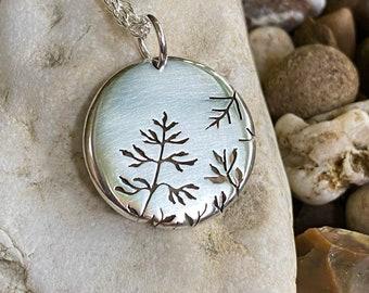 Misty Meadow Fern Pendant, Silver Tree Pendant, Silver Jewellery.