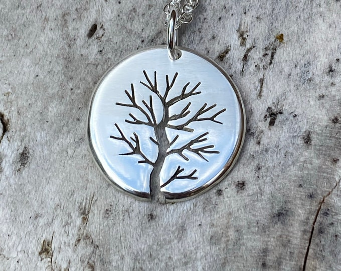 Featured listing image: Misty Silver Tree, Tree Pendant, Handmade Necklace, Silver Jewellery.