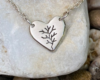 Tree of Love, Heart Necklace, Tiny Tree, Heart Pendant, Sterling Silver Jewellery, Silver Pendant.