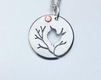 Songbird Pendant, Copper Sun, Silver Jewelry, Silver Jewellery, Silver Pendant, Bird Jewelry.