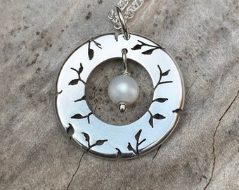 Silver Pendant, Mother of Pearl, Misty Meadow, Handmade Jewelry, Silver Necklace.