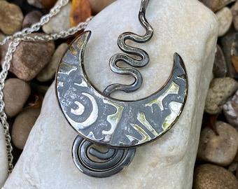 Abstract Boho Spiral Pendant, Spiral Silver Pendant, Spiral pendant, silver jewellery, Sterling silver pendant.