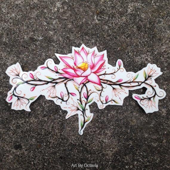Flower Temporary Tattoo Lotus Flower Temporary Tattoo Etsy
