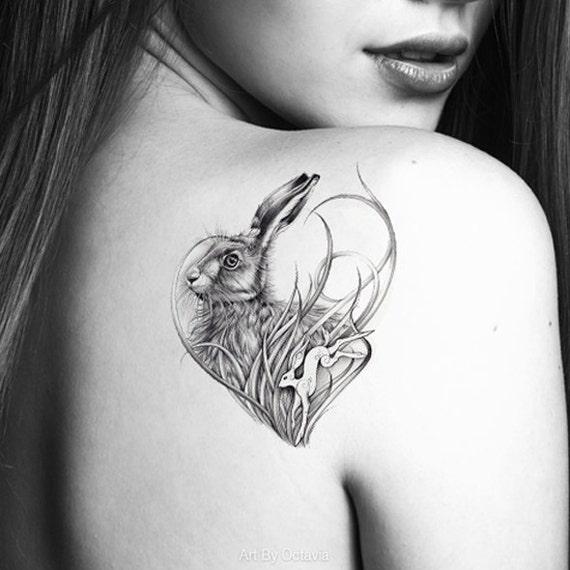 Image of: Forest Image Etsy Rabbit Tattoo Hare Temporary Tattoo Animal Tattoo Rabbit Etsy
