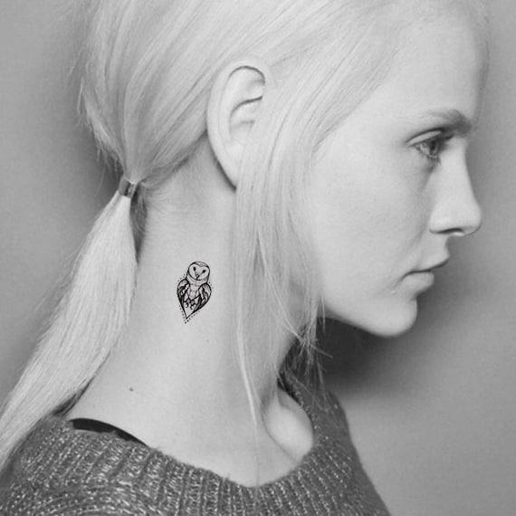 Owl Temporary Tattoo Mini Owl Tattoo Finger Tattoo Ear Etsy
