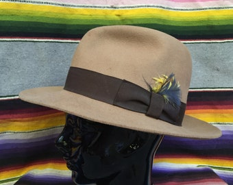 de08609fc27 Tan Wool Fedora Hat with Feather and Brown Ribbon Hatband - ADULT LARGE -  Casablanca Hat - Brim Hat - Golden Gate Hat Company