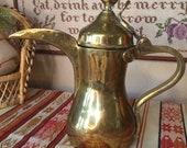 Antique Arabic Dallah - Middle Eastern Coffee Pot Tea Pot - Baghdad Boiler - Gulf Pot - Antique Arabic Coffee Pot Pitcher - Brass Tea Pot