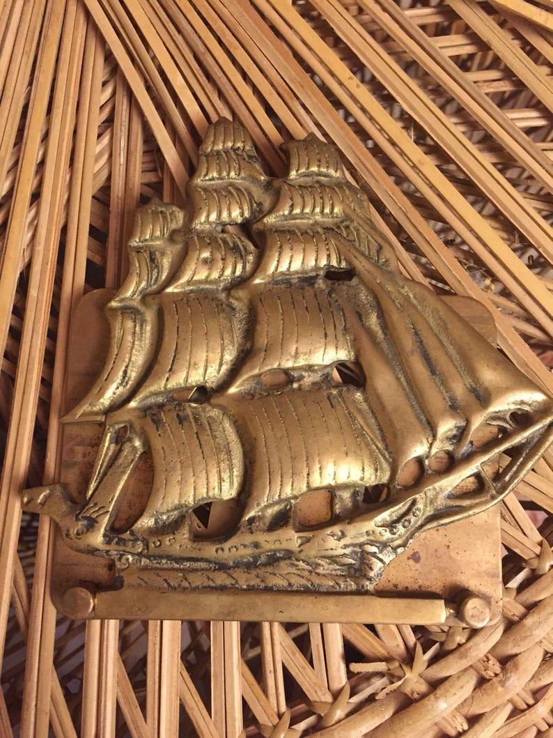 Folding Brass Schooner Ship Bookend - Maritime Boat Pirate Ship Yacht  Clipper Catamaran Mast - Ocean Sea Beach - Navy Marines - Book Books