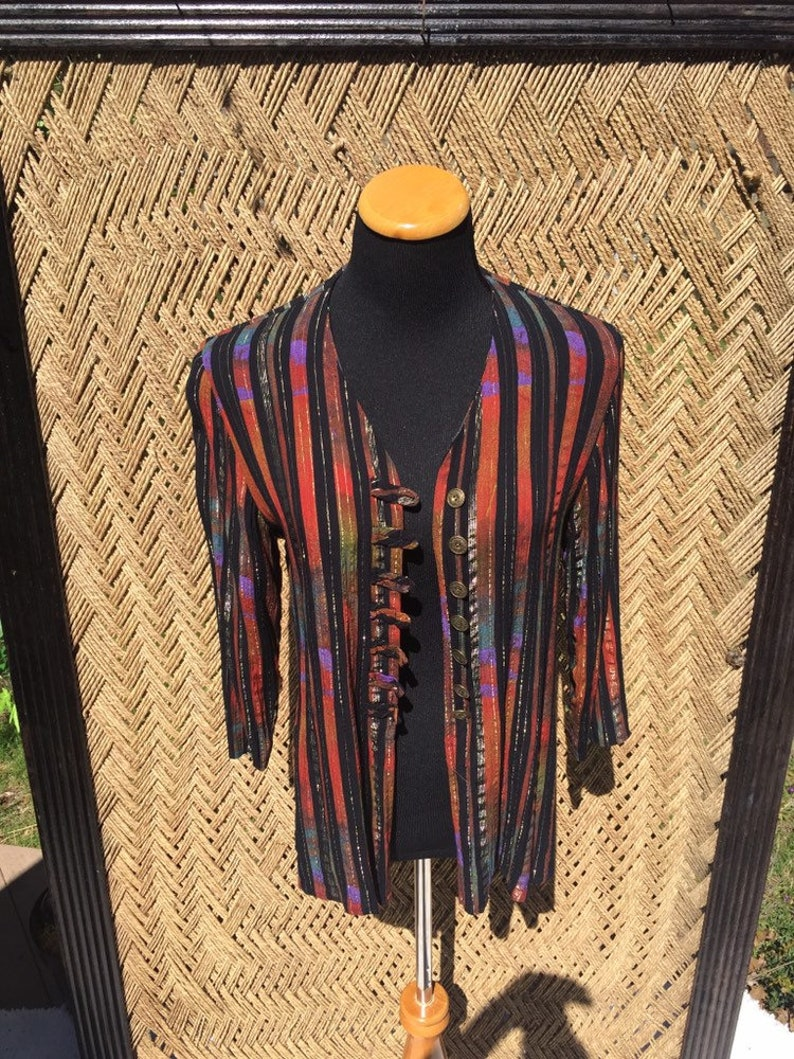 Asian Style Blouse Black and Rainbow Stripes Button Loops Side Slits Womens Petite Medium Large Striped Rayon Lurex Cutaway Blouse