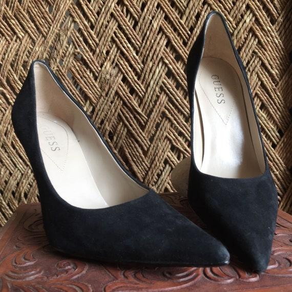 GUESS Black Suede Stilettos Womens 8 US 38.5 EU Black Leather High Heels Black Suede Leather Pumps Black Leather Stilettos Size 8