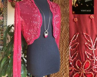 90s Sheer Raspberry Beaded Bolero Shrug - Womens Large XL - SCALA Beaded Blouse - Long Sleeve Trophy Top - Embroidered Scallop Hem - Cutaway