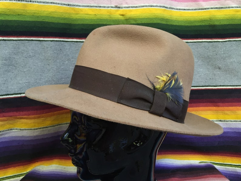 d4b3df9adaa64 Tan Wool Fedora Hat with Feather and Brown Ribbon Hatband