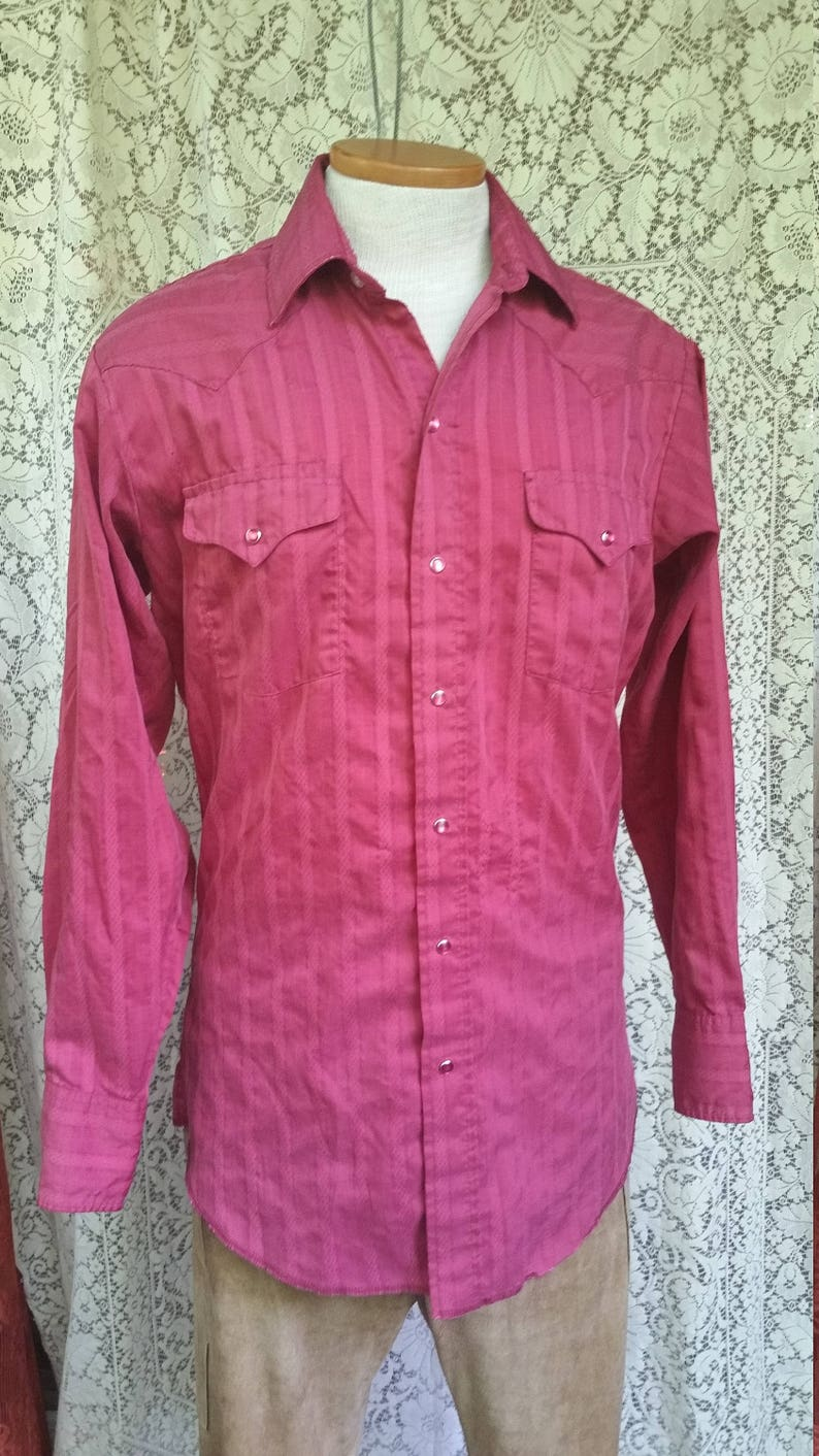 Mens Small Medium 40 Inch Chest Country Western Hipster Rockabilly Panhandle Slim Shirt Mens Maroon Long Sleeve Pearlsnap Shirt