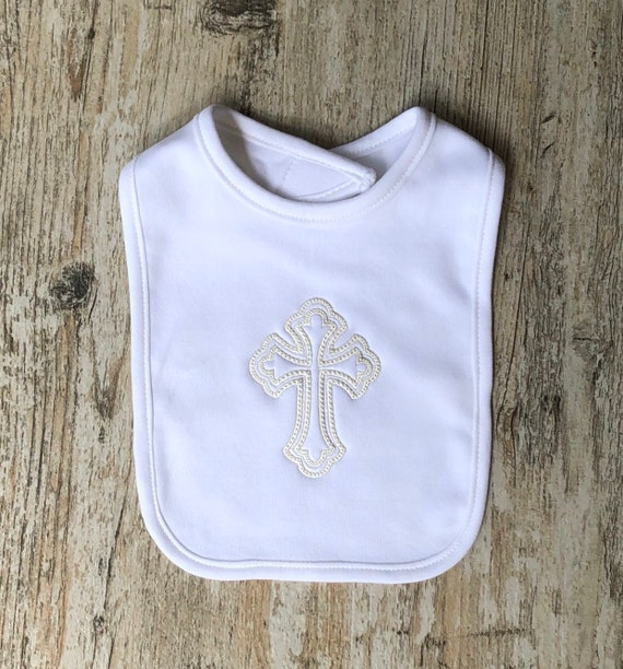 Infant Baby Boy/'s Girl/'s Christening Baptism Outfits Embroidered Cross Bib