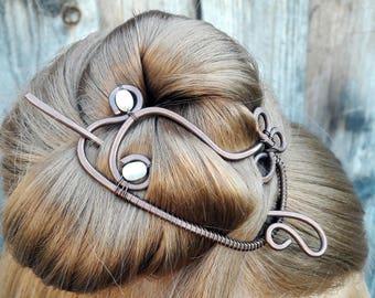 Pearl hair slide Hair Barrette Metal Copper Jewelry Handmade, Hair Accessories Gift Women, Hair Jewelry, Hair Stick, Hair Slide Hair Clip
