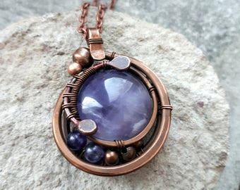 Wire Wrapped Amethyst Pendant Copper necklace - Wire wrapped Jewelry Gift for her -Purple Copper  jewelry Copper pendant - Round  Pendant