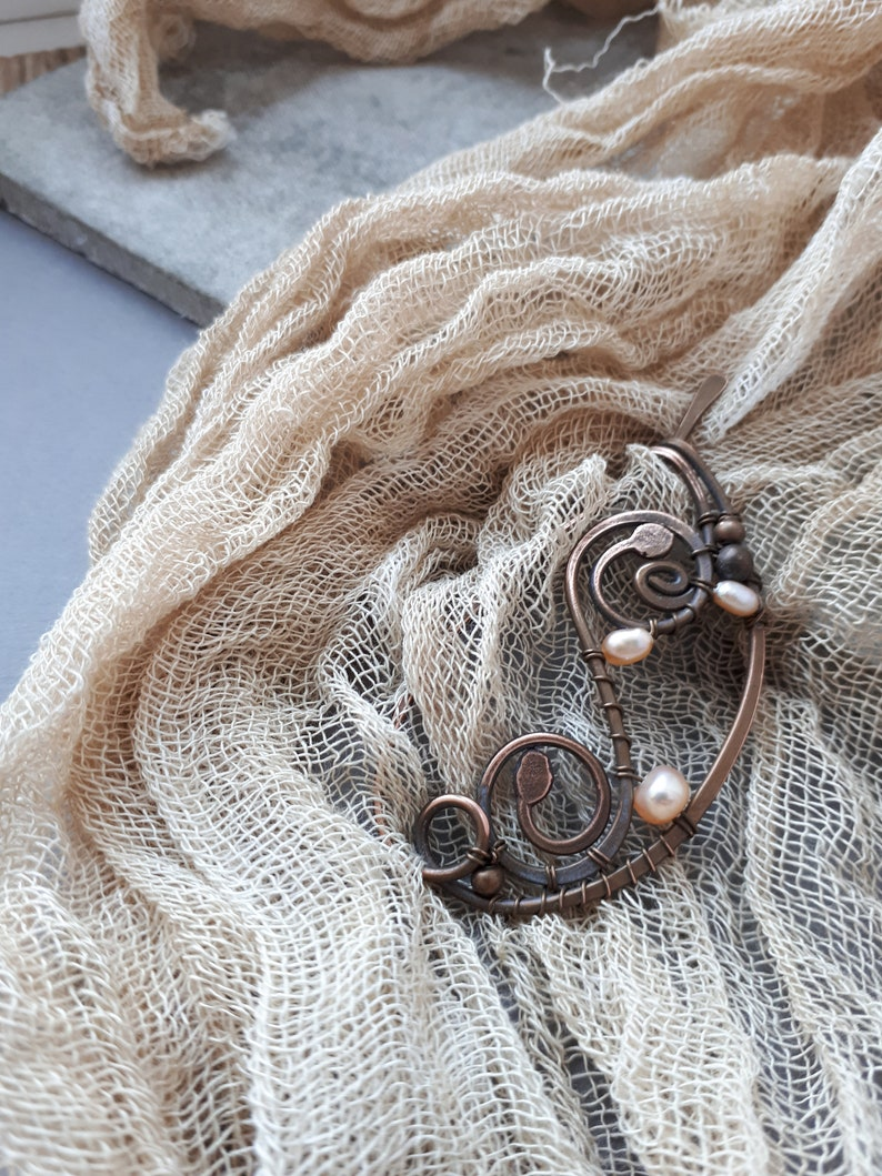 Pearl  Shawl Pin Scarf pin Copper Sweater Pin Hand Forged Purple Pearl Copper  Fibula Wire Wrapped Jewelry Wire Work Handmade