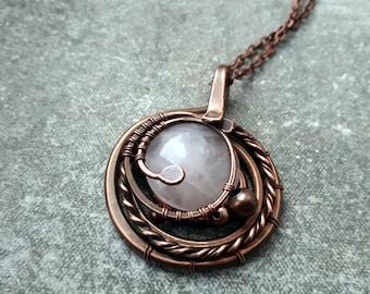 Orbital Pendant Copper necklace Wire wrapped Jewelry Gift for her Rose quartz Copper jewelry pendant Round Pendant Orbital galaxy celestial