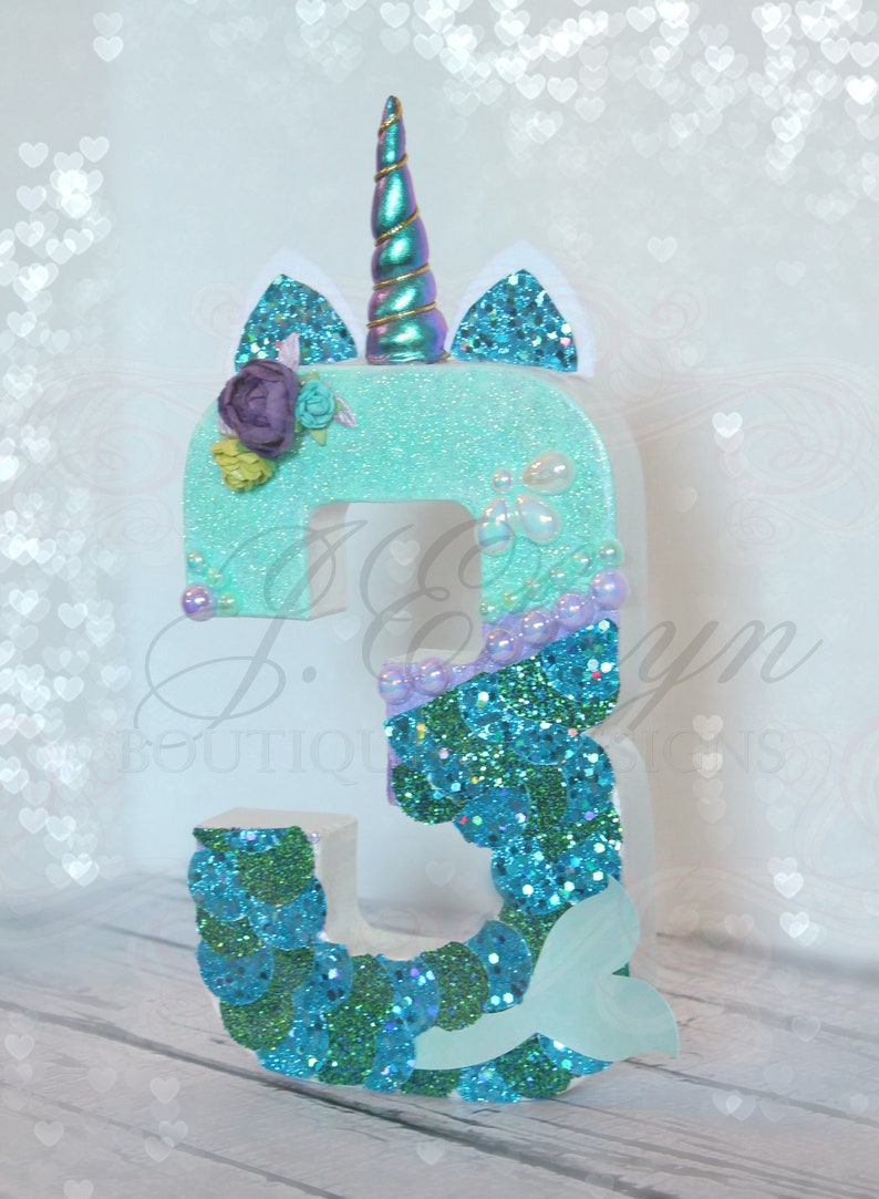 birthday party letter A B C mermaid tail aqua florals turquoise glitter scales number 1 2 3 No wpearls or LETTER mermaid decor