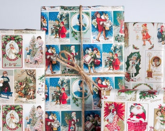 Vintage Christmas Postcard Wrapping Paper