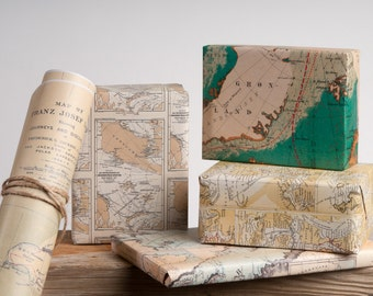 Historic Arctic Maps Wrapping Paper / 12 Sheets