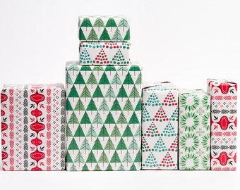 Mid-Century Modern Christmas Gift Wrap - 12 Sheets