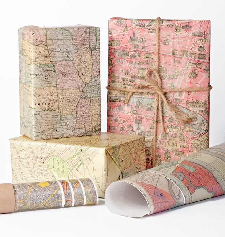 Historic Maps Wrapping Paper / 12 Sheets | Etsy