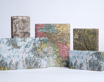 Alps Mountain Map Wrapping Paper / 12 Sheets