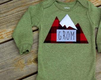 Grom Baby Bodysuit, Baby Grom, Mountain Bodysuit, Baby Mountain Shirt, Colorado Baby, Snowboarding Baby, Adventure Baby
