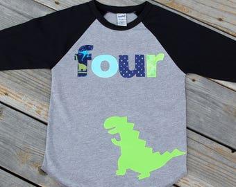 Dinosaur Fourth Birthday Shirt, Boy Fourth Birthday Shirt, Birthday Baseball Tee, Fourth Birthday Shirt