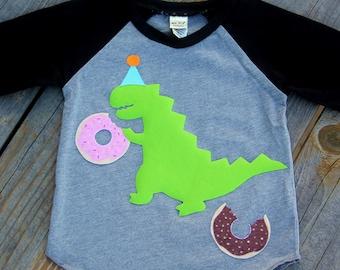 Donut Eating  Dinosaur Birthday Shirt, Any Age Birthday Shirt, Donut Party, Dinosaur Party