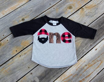 Lumberjack First Birthday Raglan, Woodland Birthday Shirt, Lumberjack Birthday Shirt, Buffalo Check Shirt, One Shirt, Wilderness Man, Logger