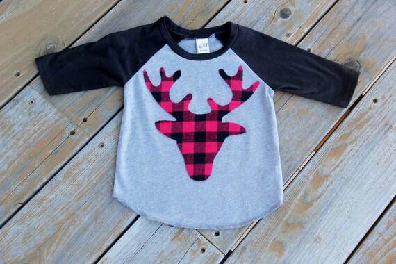 Buffalo Plaid Deer-Toddler Raglan