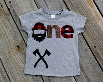 Lumberjack First Birthday Shirt, Woodland Birthday Shirt, Lumberjack Birthday Shirt, Buffalo Check Shirt, One Shirt, Wilderness Man, Logger
